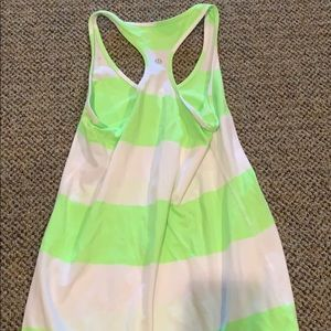 Green and white lululemon tank top size 10
